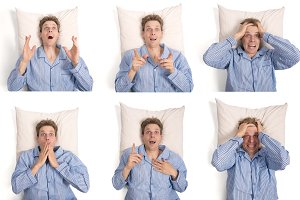 set of emotions of man in bed