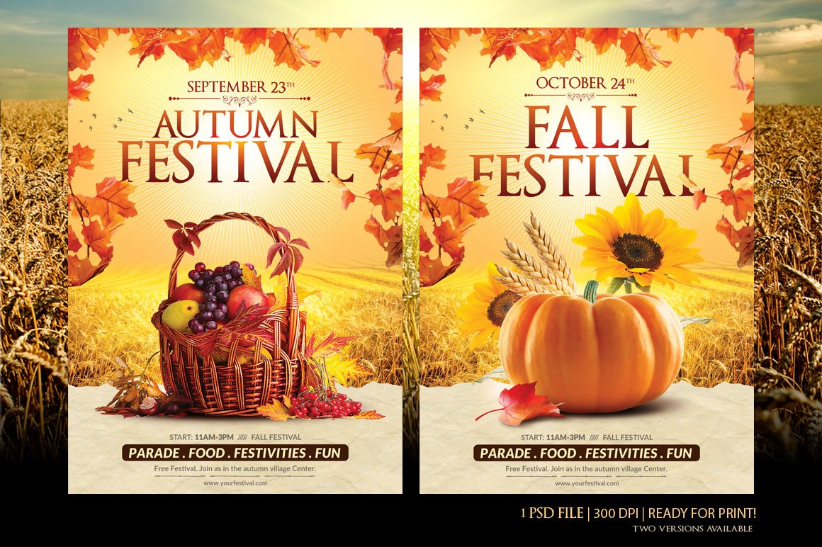 Fall Festival Flyer Template ~ Flyer Templates ~ Creative Market