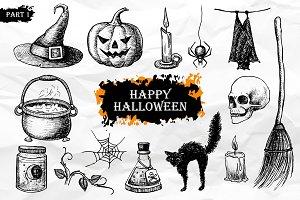 Halloween. Hand Drawn Vintage Set