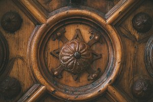 An old carved wooden door
