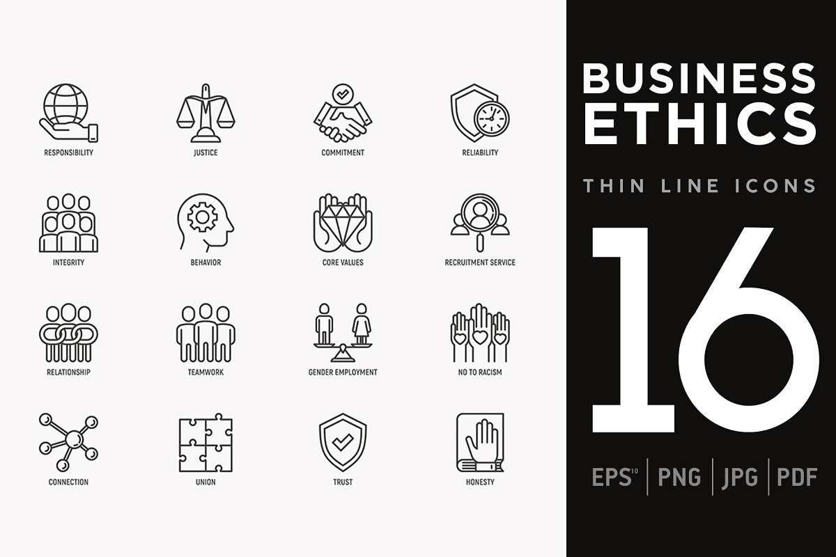 Business Ethics | 16 Thin Line Icons