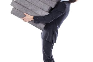 businessman with heavy load