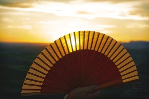 Fan and sunset