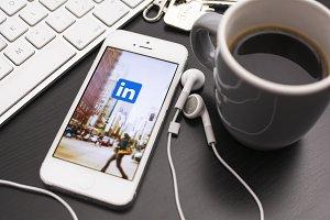 linkedin logo on smartphone