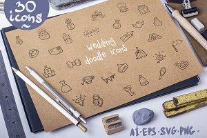 Wedding - doodle icons