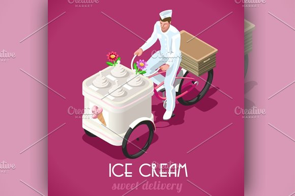 Icecream Man People Isometric