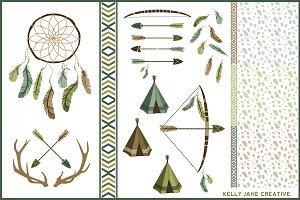 Arrows Antlers & Feathers Vector