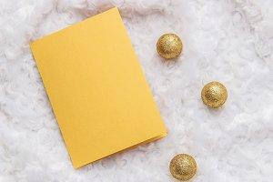 Mockup. Gold card, golden Christmas.