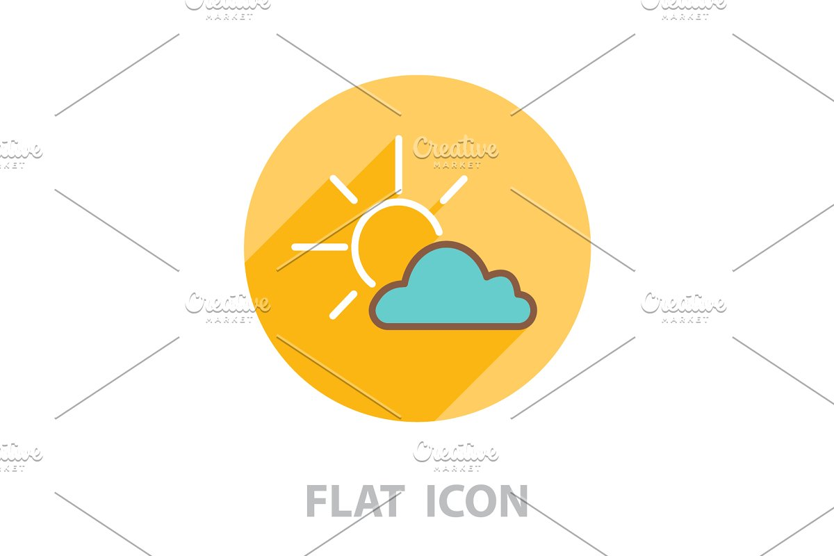 Sun cloud icon. vector illustration