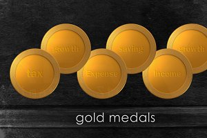 Gold medals of finance concept