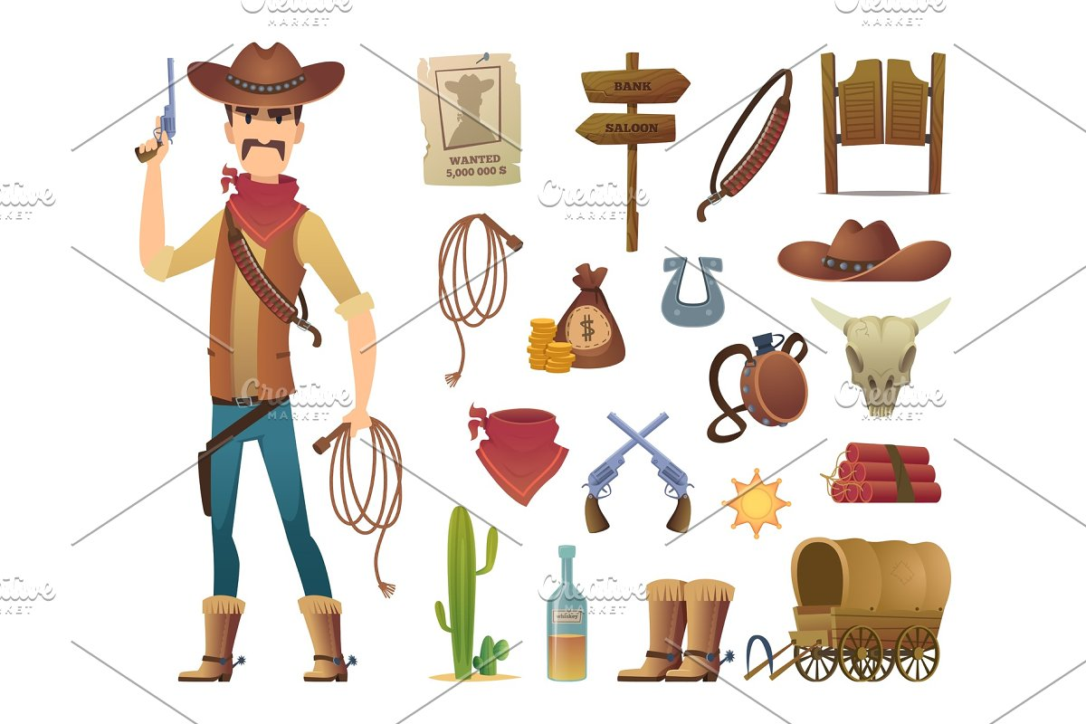 Wild west cartoon  Saloon cowboy