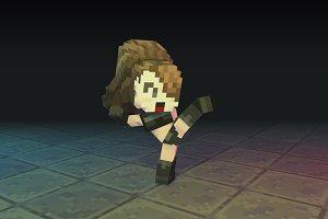 Low Poly 3D Pixel Girl