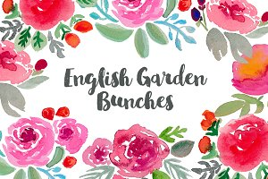 English Garden Watercolor Clip art