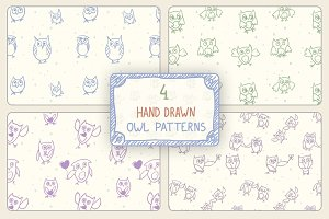 Hand Drawn Owl Patterns