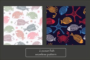 Seamless pattern with ocean fish