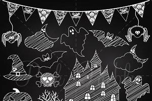 Chalkboard Halloween Clipart Vectors
