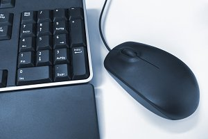Mouse and keyboard blue