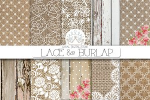 BURLAP LACE digital paper