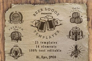 Set of beer logos templates