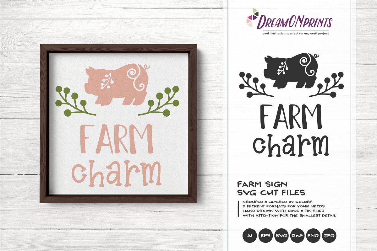 Farm Charm SVG Vector - Pig SVG