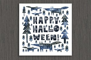 Halloween watercolor card&clipart
