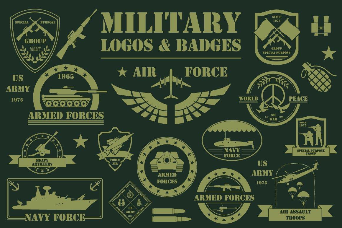 military template logos illustrations creative market. Black Bedroom Furniture Sets. Home Design Ideas