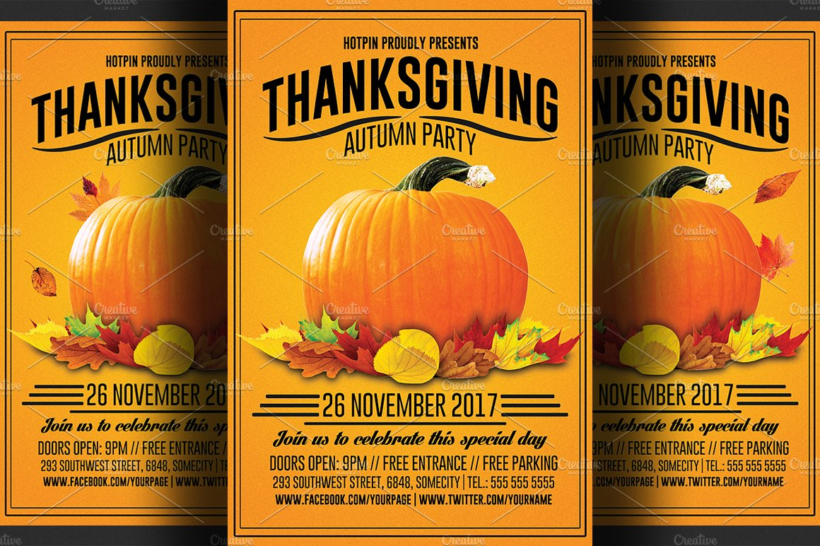 Thanksgiving flyer template flyer templates creative for Free thanksgiving templates for word