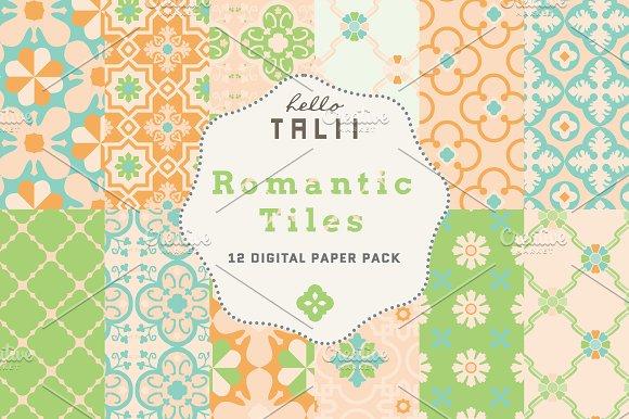 Romantic Tiles Digital Paper