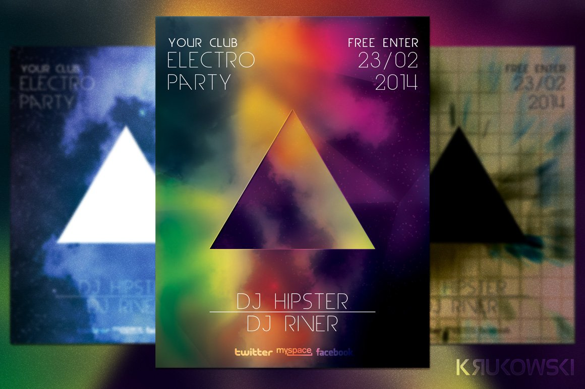 Hipster Party Flyer Template ~ Flyer Templates ~ Creative Market