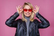Photo of blonde in pink glasses and by  in Beauty & Fashion