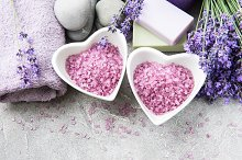 Heart-shaped bowl with sea salt, soa by  in Health