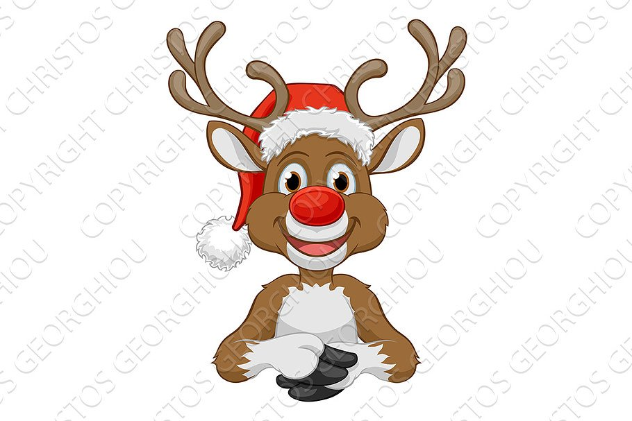 a4362d3557169 Christmas Reindeer in Santa Hat ~ Illustrations ~ Creative Market