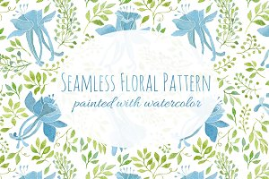 Seamless Floral Pattern-Blue Flowers