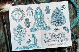 Yoga set: 36 vector elements