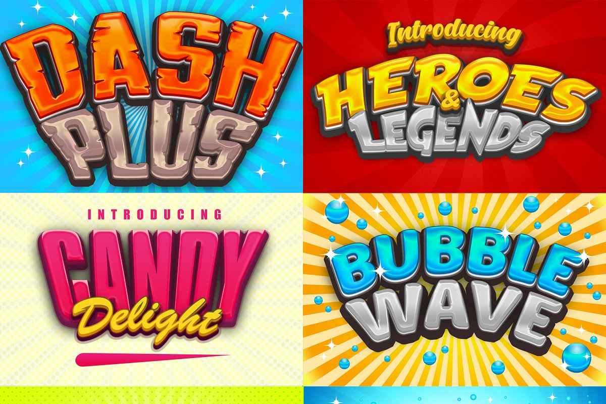 Game Logo Text Effect Styles Bundle ~ Photoshop Add-Ons ~ Creative