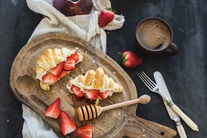 Croissants with strawberries