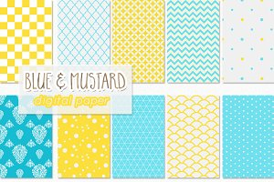 10 digital papers mustard and blue