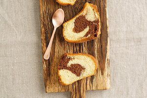 Slices of marble cake
