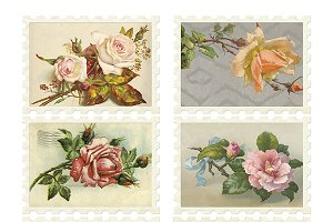 Vintage Flower Stamps Collage Sheet
