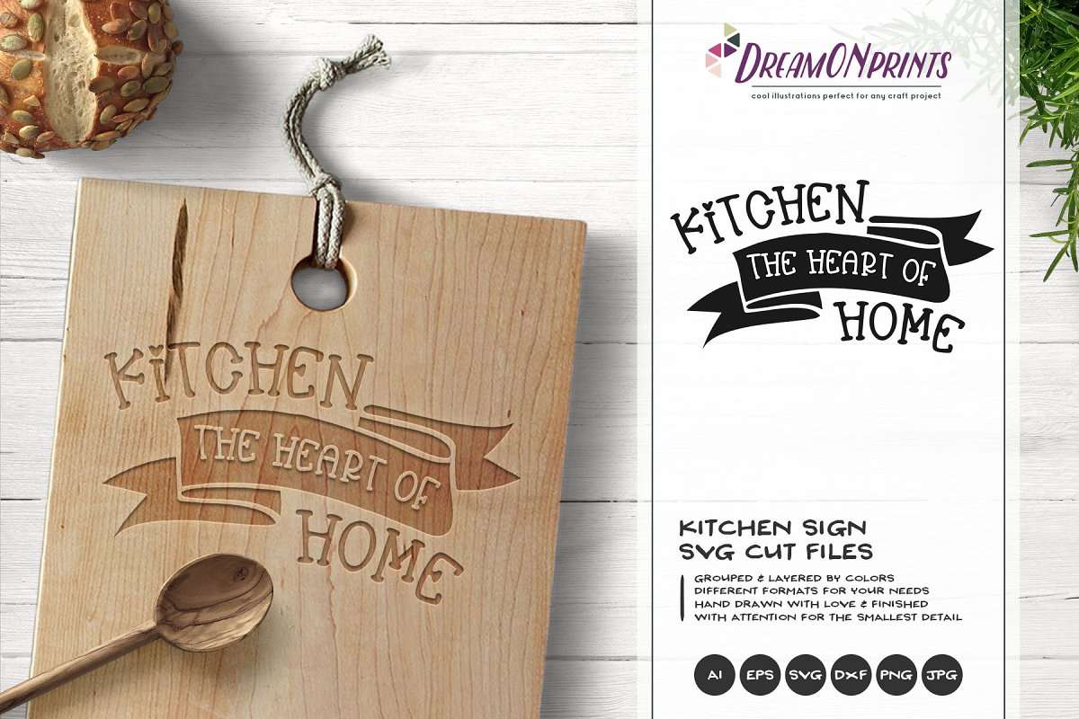 Kitchen the Heart of Home SVG Vector