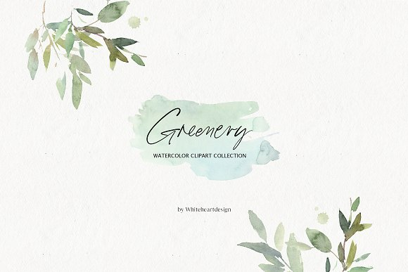 Leaf watercolor. Greenery leaves clipart