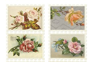 Vintage Flower Stamp Collage Sheet
