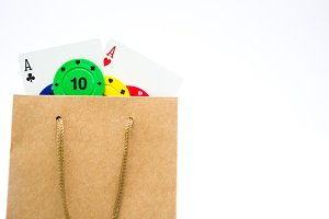 Bag with poker supplies