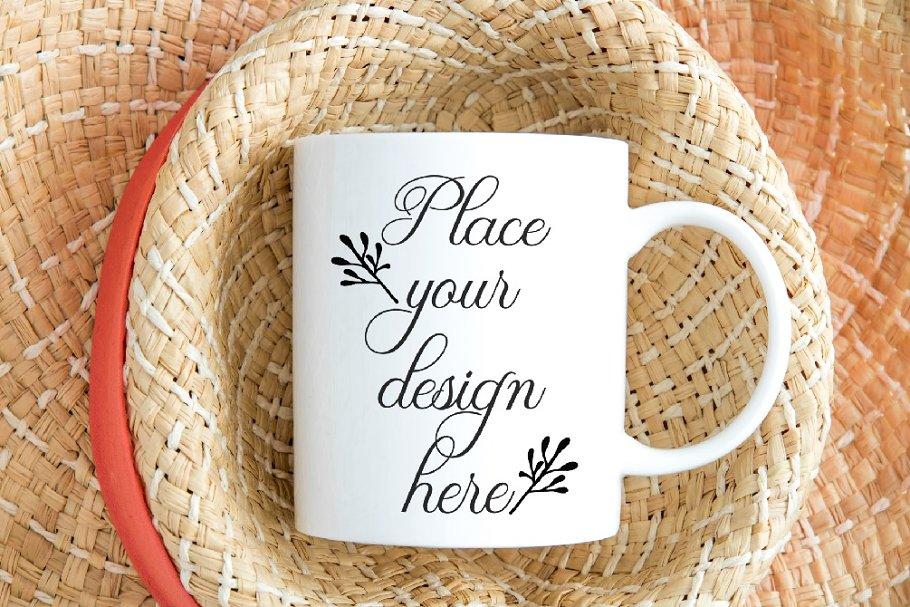 Spring summer boho coffee mug mockup