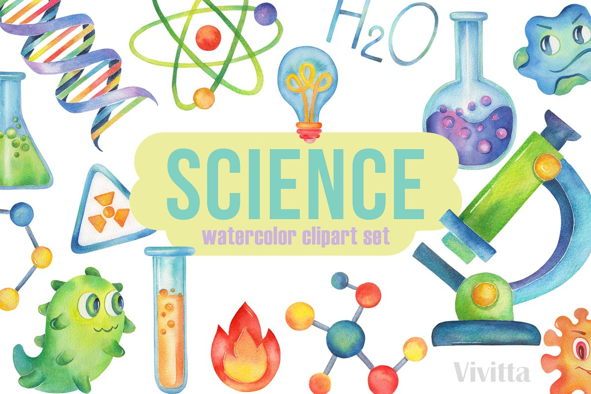 Science kawaii. Watercolor clipart chemistry illustrations