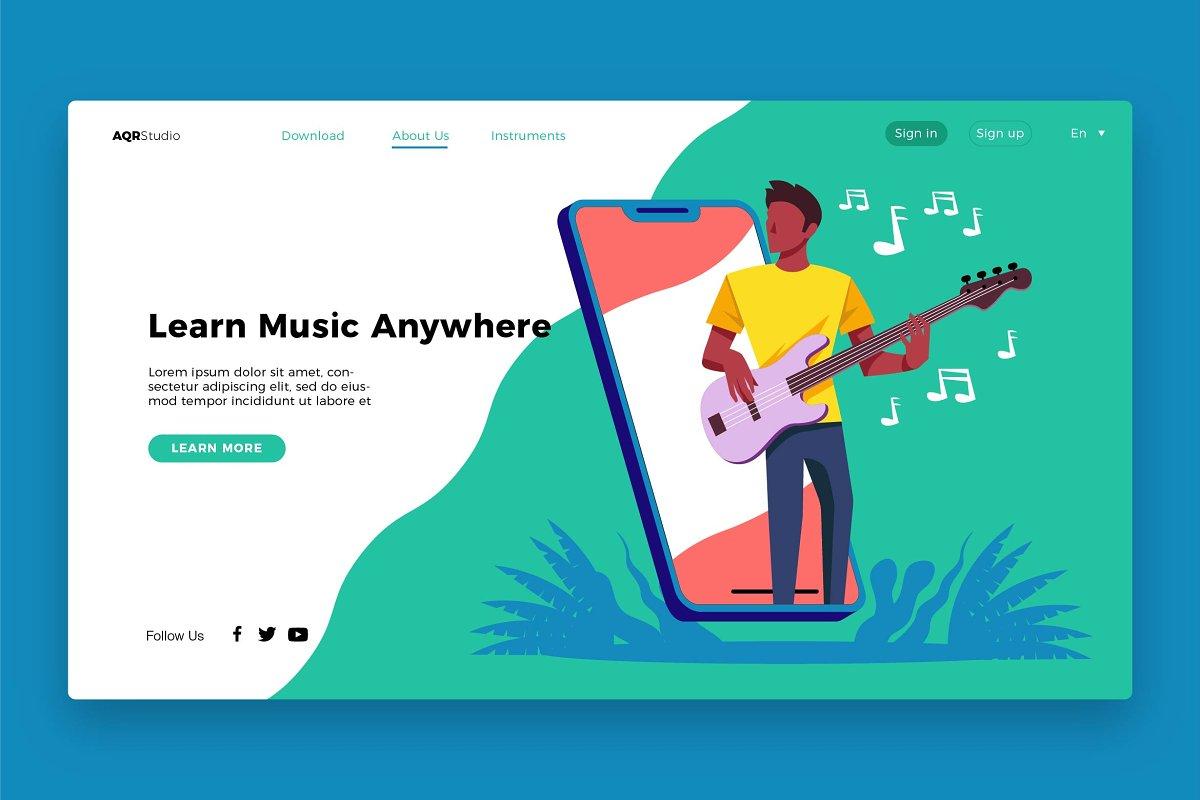Music Learning - Banner & Landing Pa