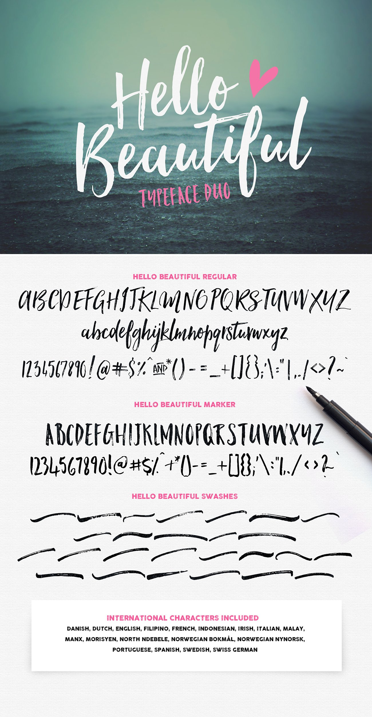 Hello Beautiful Font Duo Swashes Fonts Creative Market