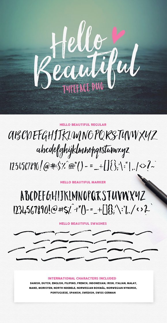 Hello Beautiful Font Duo Swashes Fonts On Creative Market