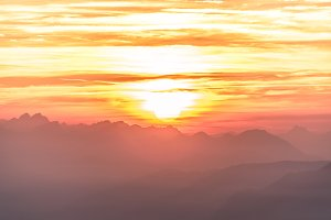 Sun silhouette at sunset