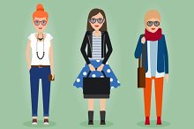 Hipster girls with accessories